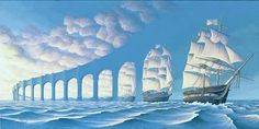 The Sun Sets Sail by Rob Gonsalves - optical illusion painting of boats and bridges robgonsalves.com/