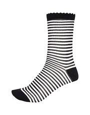 Black and white stripe ankle socks