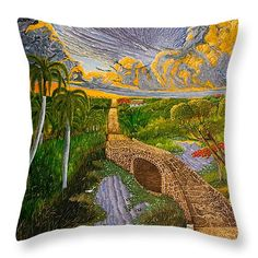 "Palms by the lake Throw Pillow 14"" x 14"""