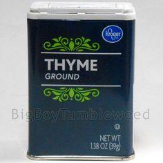 Kroger ground Thyme 1.38 oz tin food meat soup seasoning spice flavoring powder #Kroger #BigBoyTumbleweed