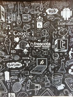 Social Media Art .. in black and white on the wall