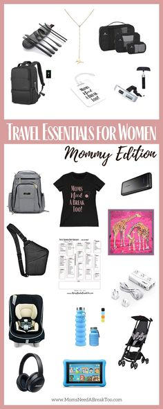 Travel essentials for women that travel . with or without kids! These are must-have items that are highly recommended for any woman on the move! Travel Essentials For Women, Packing Tips For Travel, Travel Bags, Working Mom Schedule, Working Mom Tips, Traveling With Baby, Travel With Kids, Traveling By Yourself, Free Travel