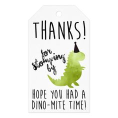 Thank You Tags, Dinosaur Theme Party, Stomp Gift Tags Dinosaur First Birthday, 1st Boy Birthday, Boy Birthday Parties, Birthday Ideas, Sleepover Party, Birthday Crafts, Birthday Pictures, Dinosaur Party Invitations, Dinosaur Party Favors