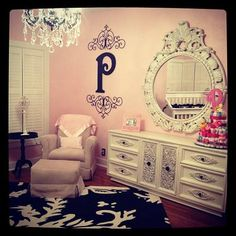 Pink, Black, and White Damask Nursery: My Pink, Black, and White Damask Nursery idea came about because I wanted an elegant baby room fit for a princess! What brand and color of paint did