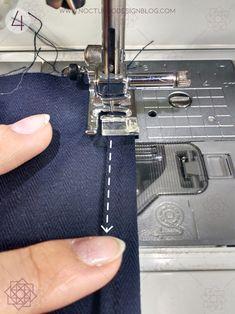 práctica Design Blog, Singer, Denim, Vestidos, Sewing Accessories, How To Sew, Sewing Techniques, Hemline, Needlepoint