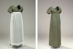 Dress with Apron: ca. early 1800's, dress of glossy wool, apron of mull with woven flowers.
