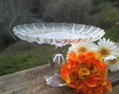 Wedding, Bridal, Cake Plate, Cupcake Stand, Vintage Crystal Glass, Dessert, Cake Stand Pedestal, Appetizers 11 inch. $45.00, via Etsy.