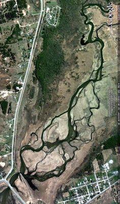 The Betsie River near Elberta, Michigan. Image from Google Earth.
