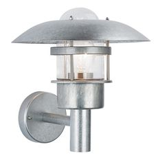 modern silver galvanised exterior outdoor garden wall light fishermans