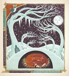 illustration, animal, fox, cut away, tree, woodland, winter, snow, night, moon, bird, owl, design, pattern, frame. Wenceslas A Christmas Poem by Carol Ann Duffy