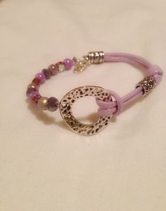 Lilac cord and silver bracelet
