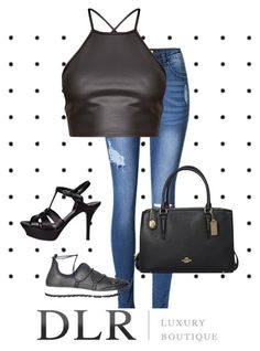 """""""DLRboutique.com"""" by jillsjoyagol ❤ liked on Polyvore featuring Yves Saint Laurent, Jimmy Choo and Coach"""