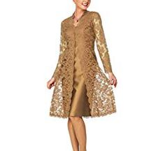 Fitty Lell Women's A Line Satin Short Mother of The Bride Dress with Lace Jacket. - Fitty Lell Women's A Line Satin Short Mother of The Bride Dress with Lace Plus,Gold)- - Formal Dresses For Women, Trendy Dresses, Cute Dresses, Fashion Dresses, Bride Dresses, Special Dresses, Dresses Dresses, Dance Dresses, Short Dresses