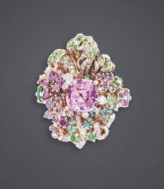 """DIOR. """"Pink Sapphire Nymphs' Bath"""" ring in pink gold, diamonds, pink sapphires, tsavorite garnets, emeralds, purple sapphires, Paraiba tourmalines and demantoid garnets #DIOR #DIORÀVersaillesCôtéJardins #DIORJewellery #HighJewelry #FineJewellery #HauteJoaillerie"""