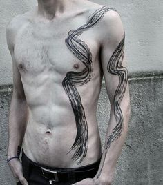 Mens Abstract Tattoo Designs On Side Of Body