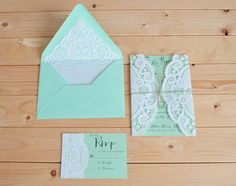 Doily Wedding Invitation Set With Doily Lined Envelope And Doily RSVP Card - Vintage Rustic Wedding