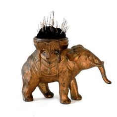 Antique Cast Metal Elephant Pin Cushion with Original Gold Paint
