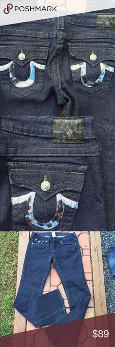 """True Religion Joey Embellished Flare Jeans Size 29 Size 29. Inseam: 33"""". Worn once. Super nice. Dark wash. Be sure to view the other items in our closet. We offer both women's and Mens items in a variety of sizes. Bundle and save!! Thank you for viewing our item!! True Religion Jeans Flare & Wide Leg"""