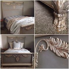 Bed for our guest bedroom painted in Chalk Paint® decorative paint in french linen. Painted by Andrea Duffy
