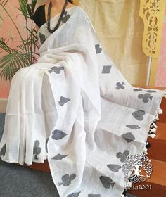 Elegant Linen Cotton Saree with woven patterns