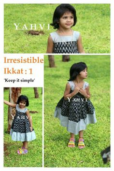 black ikkat Girls Frock Design, Kids Frocks Design, Baby Frocks Designs, Baby Dress Design, Kids Dress Wear, Kids Gown, Dresses Kids Girl, Kids Outfits, Baby Frock Pattern