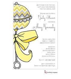 White Gray Yellow Baby Shower or Bridal Shower Invitation