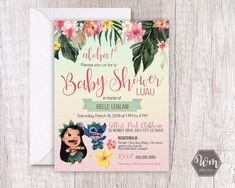 Girl Baby Shower Decorations, Baby Shower Themes, Baby Shower Invitaciones, Disney Colors, Floral Baby Shower, Lilo And Stitch, Baby Disney, Baby Birthday, Print And Cut
