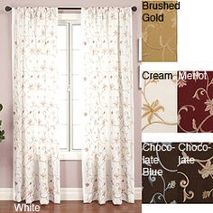 @Overstock - Update your home decor with a luxurious window panel  Window treatment designed with a floral embroidered taffeta  Curtain features a rod pocket for easy hanging from a decorative rodhttp://www.overstock.com/Home-Garden/Cairo-Rod-Pocket-120-inch-Curtain-Panel/3319892/product.html?CID=214117 $20.99