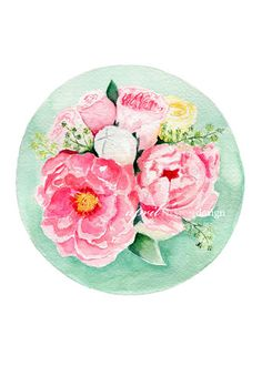 Pink Peonies in a Turquoise Circle – Watercolor Print