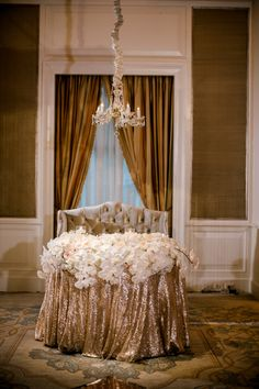 Rose Gold Sequined Linen on at Sweetheart table Linen Rentals, Dallas Wedding, Sweetheart Table, Gold Wedding, Wedding Planner, Wedding Decorations, Rose Gold, Weddings, Design
