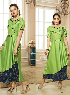 Wholesale Occasional Wear Cotton Jam Satin Embroidered And Printed Stylish Kurtis Cataloge. Buy This Beautiful Cataloge From LKFABKART For Your Boutique Collection. Stylish Kurtis, Kurti Sleeves Design, Indian Tunic, Sleeve Designs, Green Cotton, Designer Collection, Printed Cotton, Dress Making, Designer Dresses