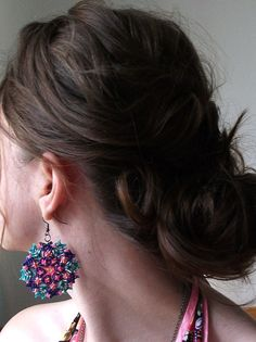 Kaleidoscope Mandala Earrings  Macrame Knotted by FLORIKNOTURE