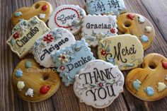Thank You Cookies Thank You Cookies, Crazy Cookies, Fall Cookies, Sugar Cookie Royal Icing, Iced Sugar Cookies, Galletas Cookies, Cupcake Cookies, Cupcakes, Cookie Company
