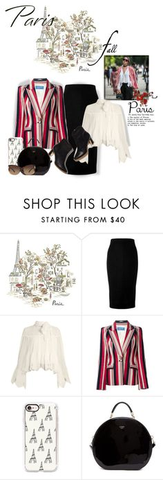 """""""#getaway Paris In The Fall"""" by onesweetthing ❤ liked on Polyvore featuring Pottery Barn, Victoria Beckham, See by Chloé, Thierry Mugler, Rupert Sanderson, Casetify, GUESS and Bulgari"""