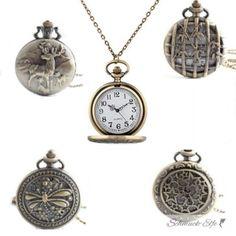 Taschenuhr / Uhrenkette mit vintage Motiv Auswahl