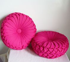 Made to Order- Handmade 1960s Vintage Inspired Round Smocked Decorative Pillows Bridal Crepe Satin Fuschia