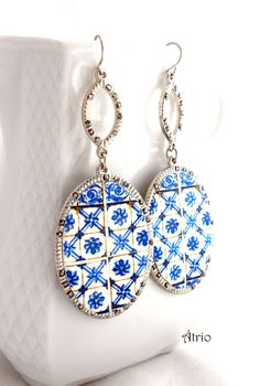 Portugal Blue Azulejo Antique Tiles Replica Earrings from by Atrio