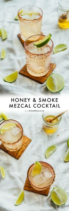 Meet the Honey & Smoke - a mezcal cocktail recipe with just 4 ingredients. All you need is honey, mezcal, ginger, beer, and limes! Mezcal Cocktails, Smoked Cocktails, Cocktail Drinks, Cocktail Recipes, Liquor Drinks, Bourbon Drinks, Sweet Cocktails, Easy Cocktails, Drinks Alcohol Recipes