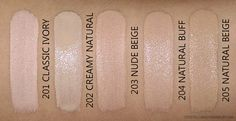 L'Oreal Infallible Pro-Glow Foundation Swatches 201 Classic Ivory 202 Creamy Natural 203 Nude Beige 204 Buff 205