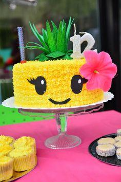 Torta realizada en temático tropical para 12 años Fondant, Fruit, Cake, Hawaiian, Desserts, Decor, Ideas, Birthday Cakes, Little Mermaid Parties