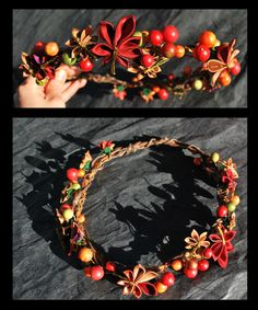 Autumn Leaves Crown. Kanzashi. by ~hanatsukuri on deviantART (not diy- but does tell what was done)