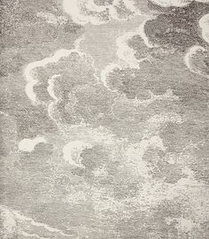 Nuvolette  Wallpaper An etched cloud design wallpaper in black on white. This wall art comes as a set of two rolls.