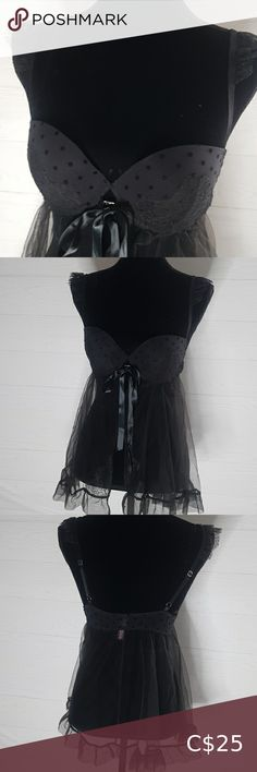 Victoria's Secret Black Lingerie 36B Bodylace Beautiful body lace Lingerie Nightware Black lace 36B Front opening with Satin lace tie and See through body lace No damage No defects Preowned but very well kept item Please feel free to msg if any questions about this item,as it avoids returns and discrepancies Bundle up and safe on shipping Thanks for visiting Victoria's Secret Intimates & Sleepwear Chemises & Slips