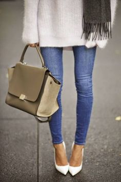 Khaki Leather Tote. #styleinspiration