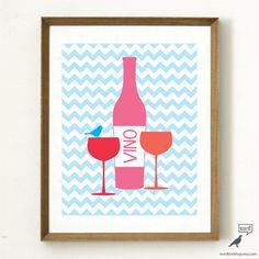 Items similar to Wine Kitchen Print, Wine Poster Kitchen Decor Gift for Wine Lover Wine Print Wine Bottle, Purple Yellow Kitchen Decor on Etsy Blue Kitchen Decor, Glass Kitchen, Kitchen Ideas, Kitchen Prints, Kitchen Wall Art, Wine Bottle Glasses, Wine Poster, Glass Art, Wine Glass