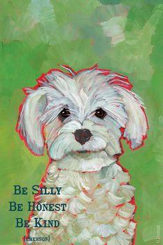 Be Kind  13x19 art poster gratitude inspirational happy motivational  white dog maltese maltipoo mutt on Etsy, $45.00