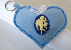 Heart Keychain Fabric Keychain Blue Fabric by HARMONYHOURWATCHES