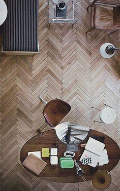 Thin Herringbone wooden floor