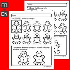 """PDF Files Languages: English, French Black and white 1 page per file Page size: X 11 in. """"Circle the identical twin"""" and """"Draw the missing parts"""". Christmas Activities For Kids, Crafts For Kids, Amelie Pepin, Identical Twins, Theme Noel, Gauche, Kindergarten Worksheets, Gingerbread Man, Language"""