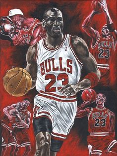 "#Chicago Bulls Michael Jordan 30"" X 40""  Original Painting from $1500.0"